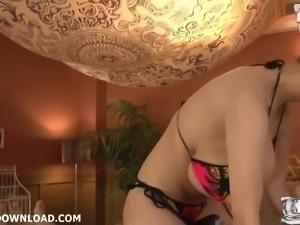 Busty asian with huge breasts in bikini