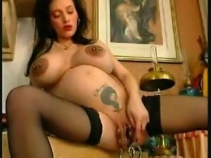 Heavy Pierced Pussy of Pregnant Girl