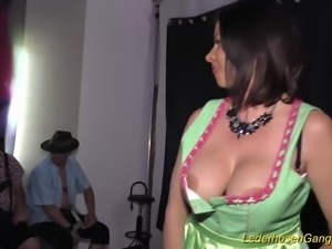 Extreme hot busty german Milf Dacada in a real lederhosen gangbang fuck party...