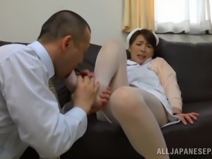 Sexy Japanese nurse spreads her legs to be drilled