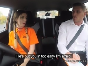Busty beauty bangs examiner in car
