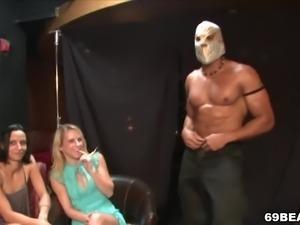 Party girls suck male stripper's BBC