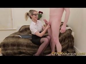 Kinky cfnm blonde sucking
