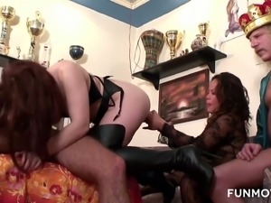Lewd porn king watches the way bootyful brunette hottie rides fat cock