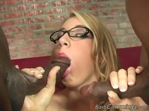 Two black men are curious about busty blonde Barb Cummings' body