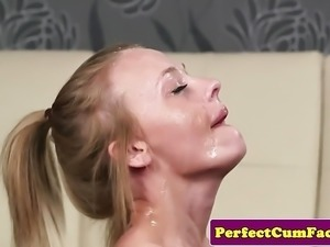 Inked British amateur facialized pov after bj