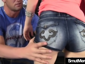 Sexy and skinny teen girl gives a boner a wonderful blowjob