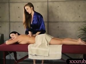 Lena Paul and Angela White pleasuring on massage table