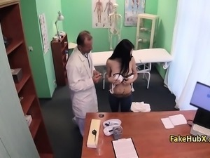 Busty babe fucks uniformed doctor