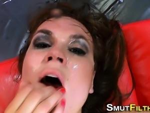 Bukkake soaked ho fucked