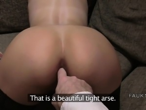 Babe in stockings got ass fingered in casting