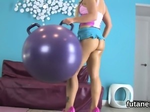 Hot sweeties plow the biggest strap-on dildos and spray juic