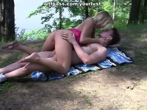 Seductive blonde bitch with great rack gets nailed well in the forest