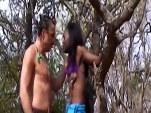 Slender african chick got punished for being a little slut