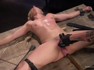 beautiful blonde's first hardcore bondage session