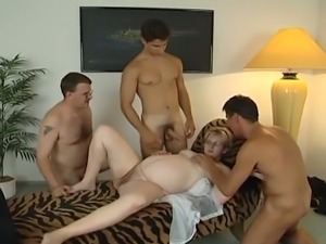 Very pregnant blonde gangbanged