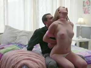 Pallid cutie with tied up hands Chloe Scott gets properly mouthfucked