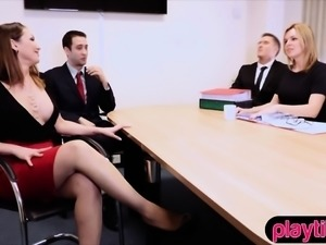 Blonde secretary in stockings fucked hard in the office