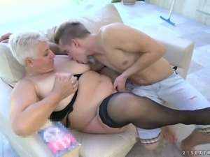 Dude is totally into eating mature cunt of mature fatty Astrid