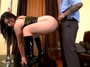 Deep anal of busty brunette after striptease
