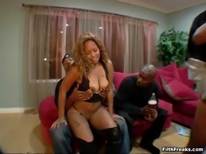 Nice ass ebony in thong doggystyle pounded in group sex
