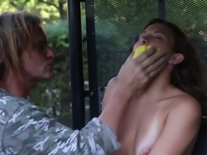 Gagged submissive chick Lily Love gets brutally nailed by her dominant stud