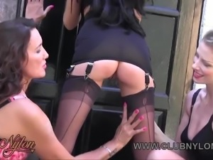 Smoking lesbian milfs kiss and tease in nylons