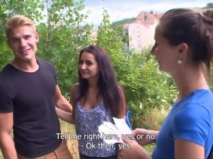 This hot czech couple is always horny. They meet a film producer on the...