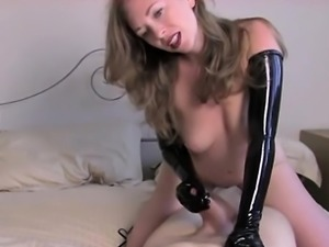 Nasty latex fetish with busty blonde hustler