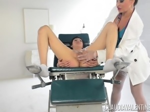 Arousing pussy exam with Aubrey Luna and Claudia Valentine