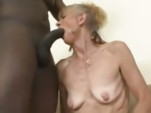 Skinny granny gets an anal creampie