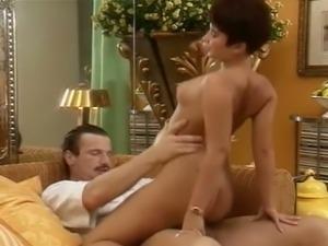 Fine redhead rides her man on top and blondie eats cum