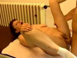 Chunky white big dude fucks his busty mature redhead white wife