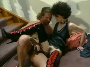 Cock loving beautiful brunette gives amazing head on the stairs