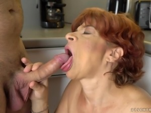 Horny mature babe Donatella moans while bouncing on a cock