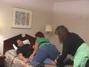 Two big bottomed perverted brunette nymphos provide my buddy with BJ