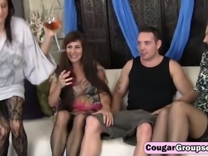 Three wild cougars fuck in hot foursome with some very lucky guy