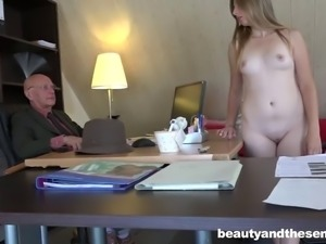 Cutie Daisy Cake and Hugo kissing and doing nasty things in an office