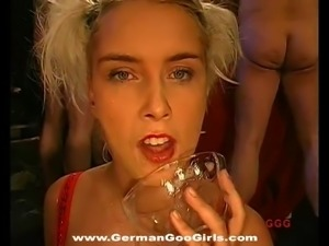 Sweet hardcore blonde girls get covered in bukkake cumshots