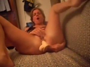 Horny mature aunt masturbating anally with big sex toys