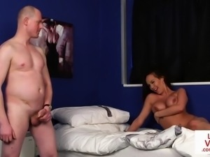busty british voyeur instructs jerking guy