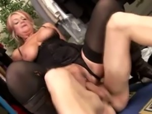 Insatiable and heavy white cougar romping on a dick of a young man