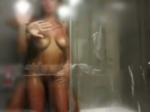 Rough sex in our shower cabin