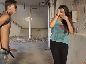 Depraved couple in an abandoned warehouse fucking hard