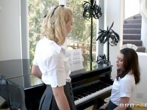 Rebecca More and Ella Hughes are cute schoolgirls who want to shag