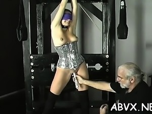 Dilettante video with cutie enduring fur pie stimulation
