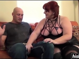 BBW in stockings enjoys his big dick