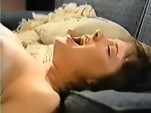 Beautiful cock loving vintage brunette fucked on the couch