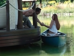 Sexy girl Ornella Morgan goes fishing but catches a dude for steamy fuck