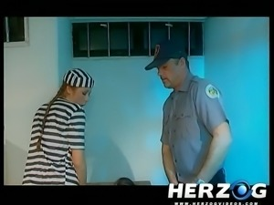 Blonde and brunette white girls in the prison pleasure each other